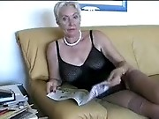 Mature woman reading pornmagazines before she gets fucked hard