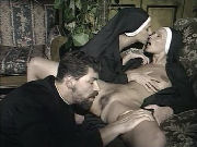 Two Bisexual Nuns Seducing The Priest To Have Sex