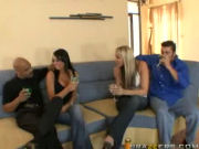 Two amateur couples switching partners for fun